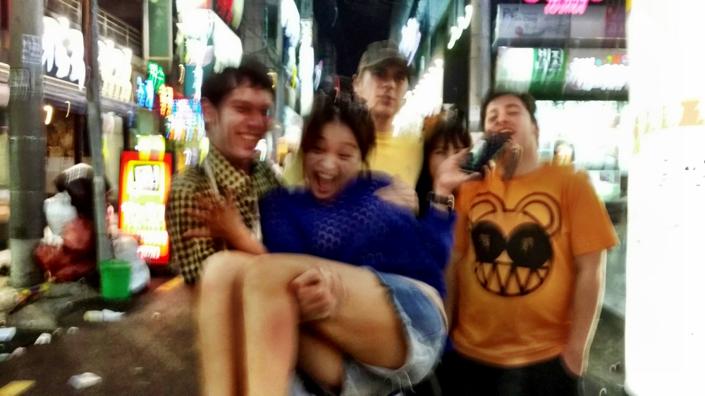 Blurrier picture of Chase, April, Craig, Yuree and me outside Thursday Party