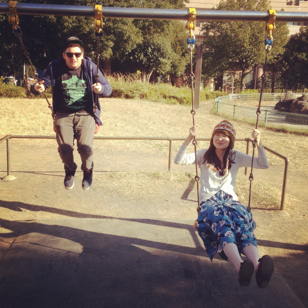 On the swings in the playground