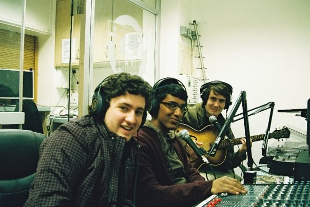 Hosting my student radio show, Tin Trains, in the Rare FM studio, 2009. L-R: Me, Dasal, Tom Allen (sitting in for our usual co-host Oliver Ray)
