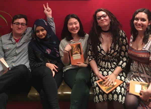 Some of my best writer pals, at Amanda Fuller's book launch, April 2017. L-R: Me, Zahrah, Kim, Rachele, Amanda (Hein)