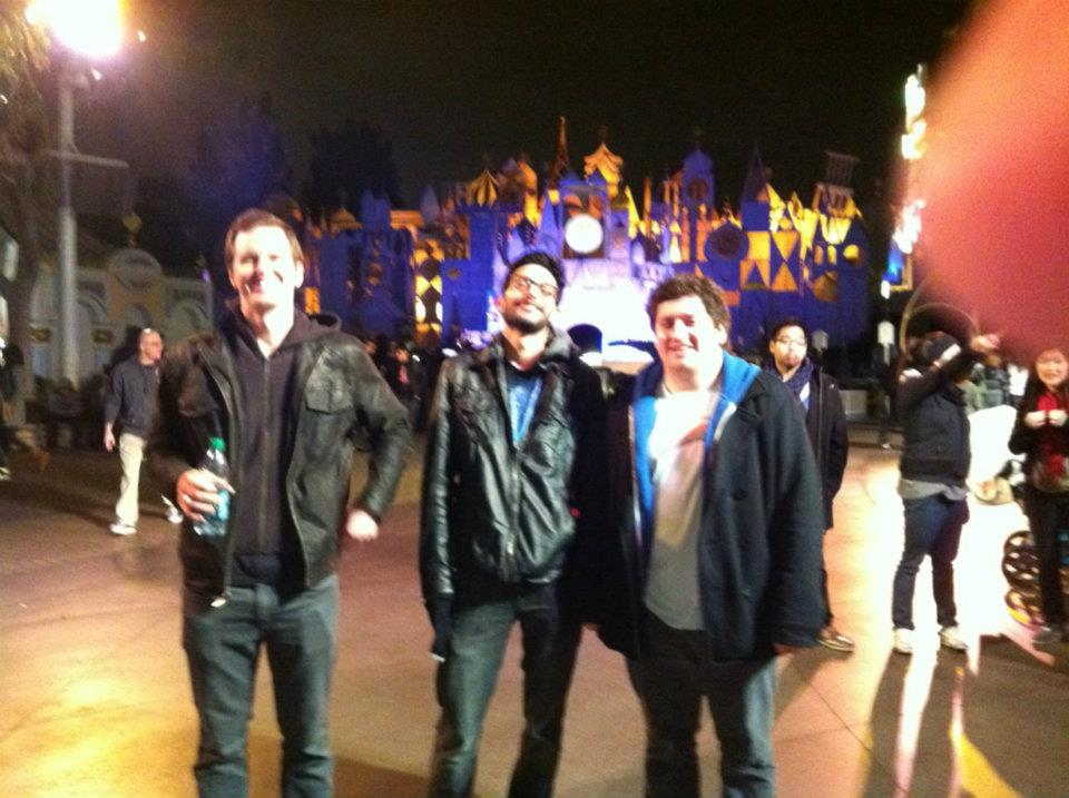 Shrooming at Disney, the only time they ever stayed open overnight, February 29-March 1 2012.. L-R: James, Winnett, Me
