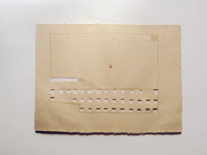 "a-2 , 2011. Pencil, gouache, cut-and-pasted paper on cut-out handmade paper. 22"" x 29.75"""