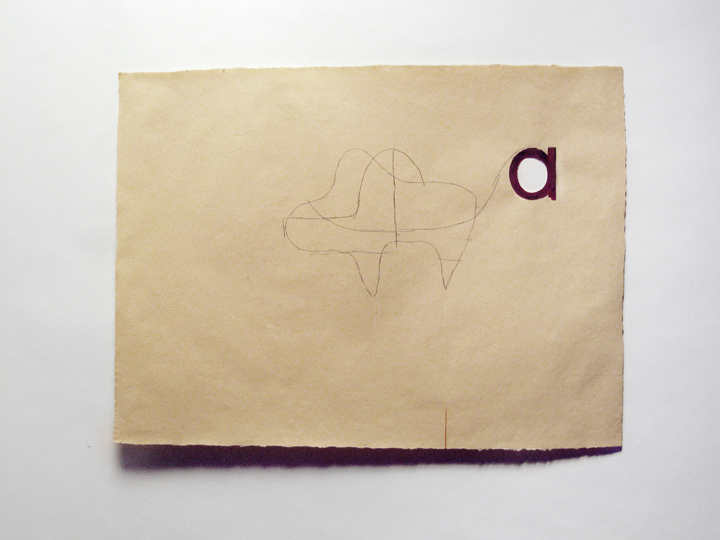 "a , 2011. Pencil, gouache, cut-and-pasted paper, toothpick on handmade paper. 22"" x 30"""
