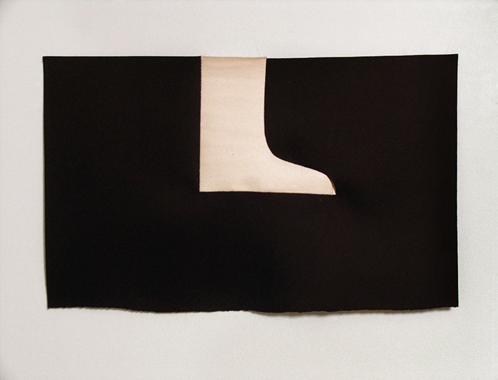 "Night Boot , 2008. Industrial wool felt hand stitched with silk thread. 23"" x 37"""