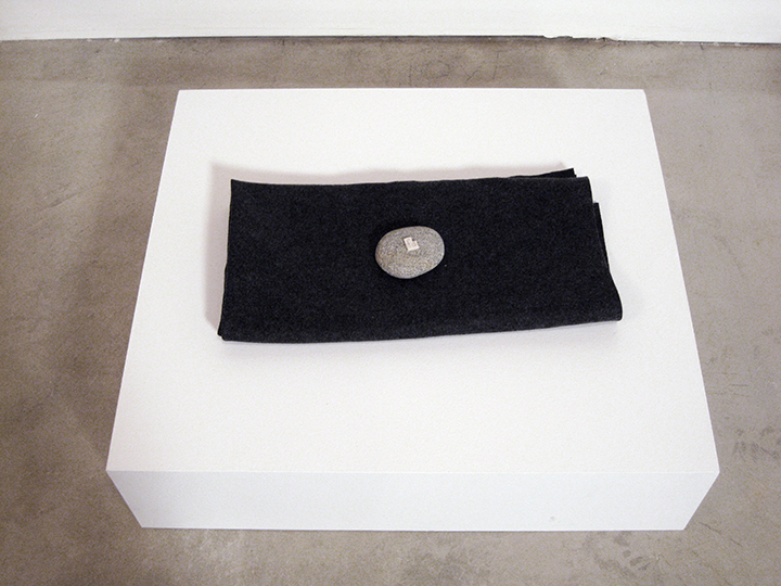"a hole is a true 3,    2013-2014. Pencil, industrial wool felt, rock. 2"" x 19.25"" x 10"" (On stand 7.5"" x 27.25"" x 24"")"