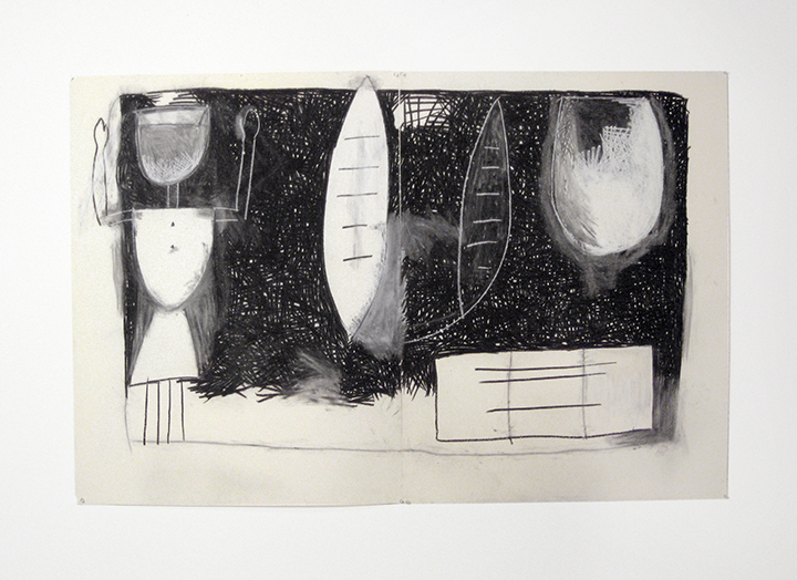 """August   , 1983. Charcoal and pastel on rag paper. 50"""" x 76"""" (2 panels)"""