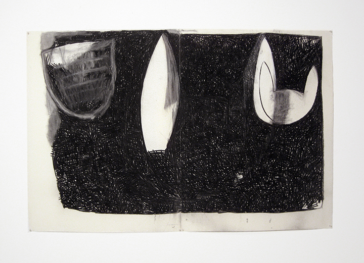 """Three   , 1983. Charcoal and pastel on rag paper. 50"""" x 76"""" (2 panels)"""