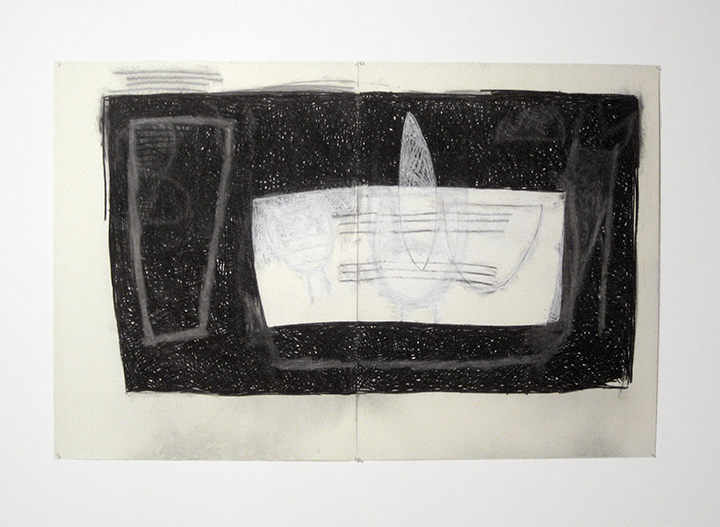 """Voyage (for Paul),    1983. Charcoal and pastel on rag paper. 50"""" x 76"""" (2 panels)"""