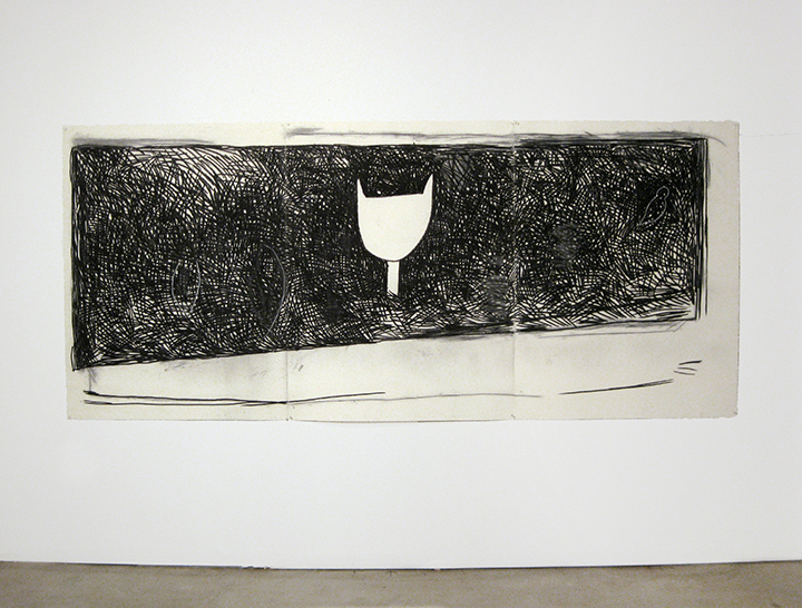 """Jungle   , 1984. Charcoal and pastel on rag paper. 50"""" x 114"""" (3 panels)"""