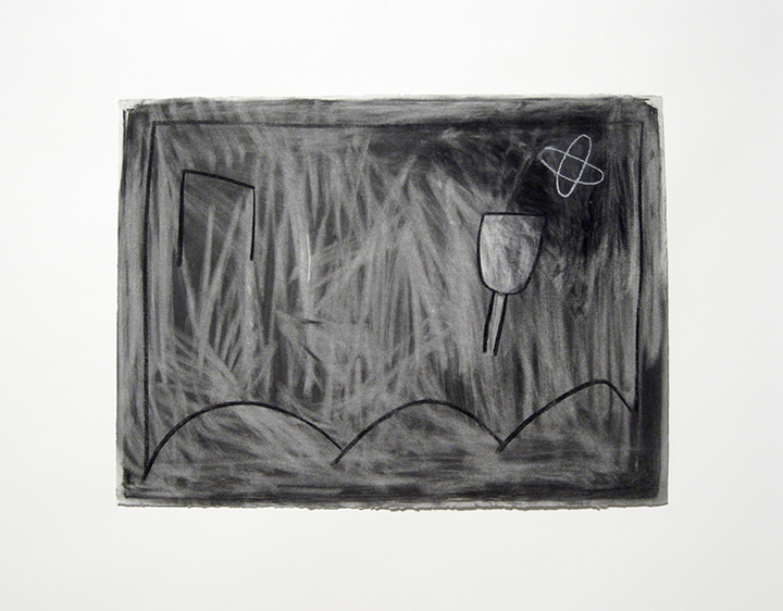 """Outside   , 1984. Charcoal and pastel on rag paper. 22"""" x 30"""""""