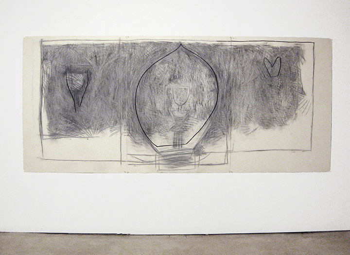 """Buddha Me To Spring   , 1985. Charcoal and pastel on rag paper. 50"""" x 114"""" (3 panels)"""