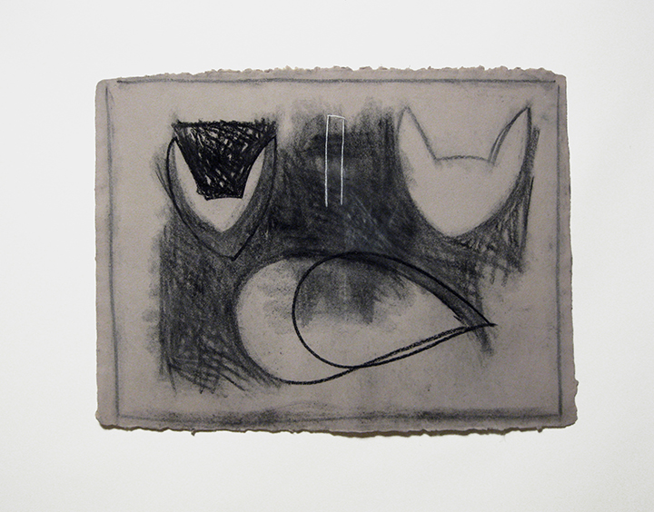 """Drawing (double),    1986. Charcoal and pastel on handmade paper. 24"""" x 32"""""""