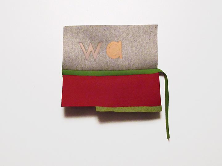 """w a , 2018. Industrial wool felt hand stitched with silk thread. 20"""" x 18"""""""
