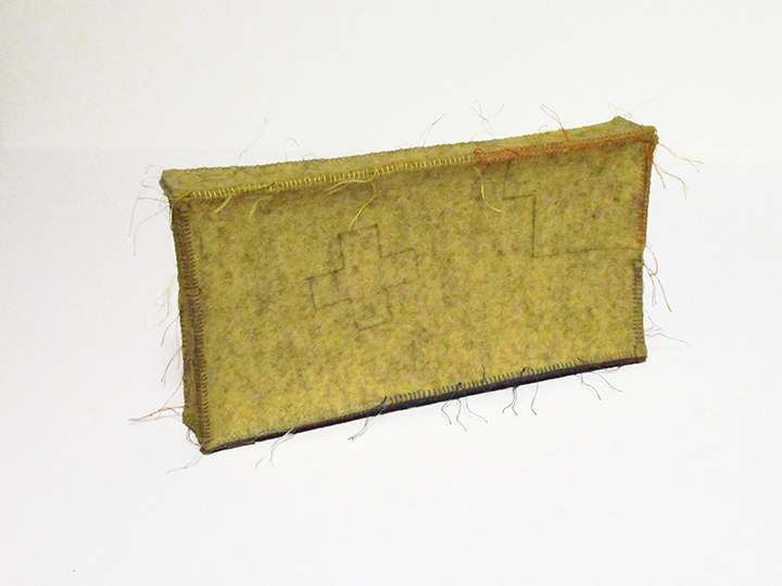 """yellow drawing box , 2019 - View 1. Pencil on industrial wool felt hand stitched with silk thread. 5.5"""" x 10.25"""" x 1.5"""""""