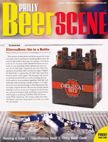 Beer Scene article on Original Sin Cider