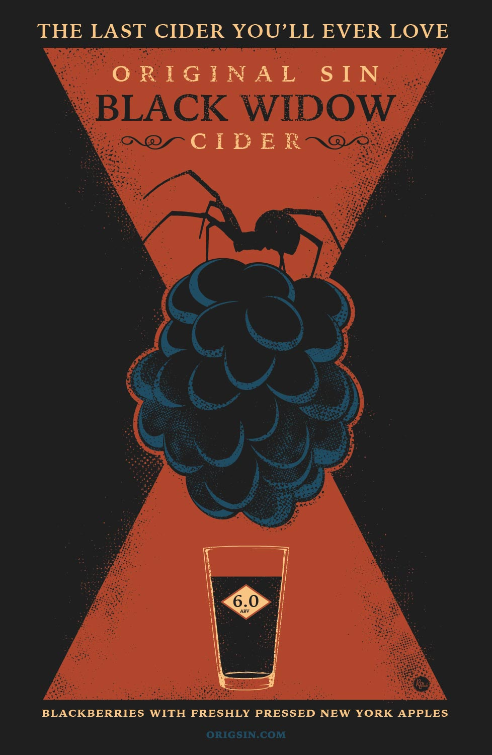 Original Sin Black Widow Cider will be available in select markets in June, 2017