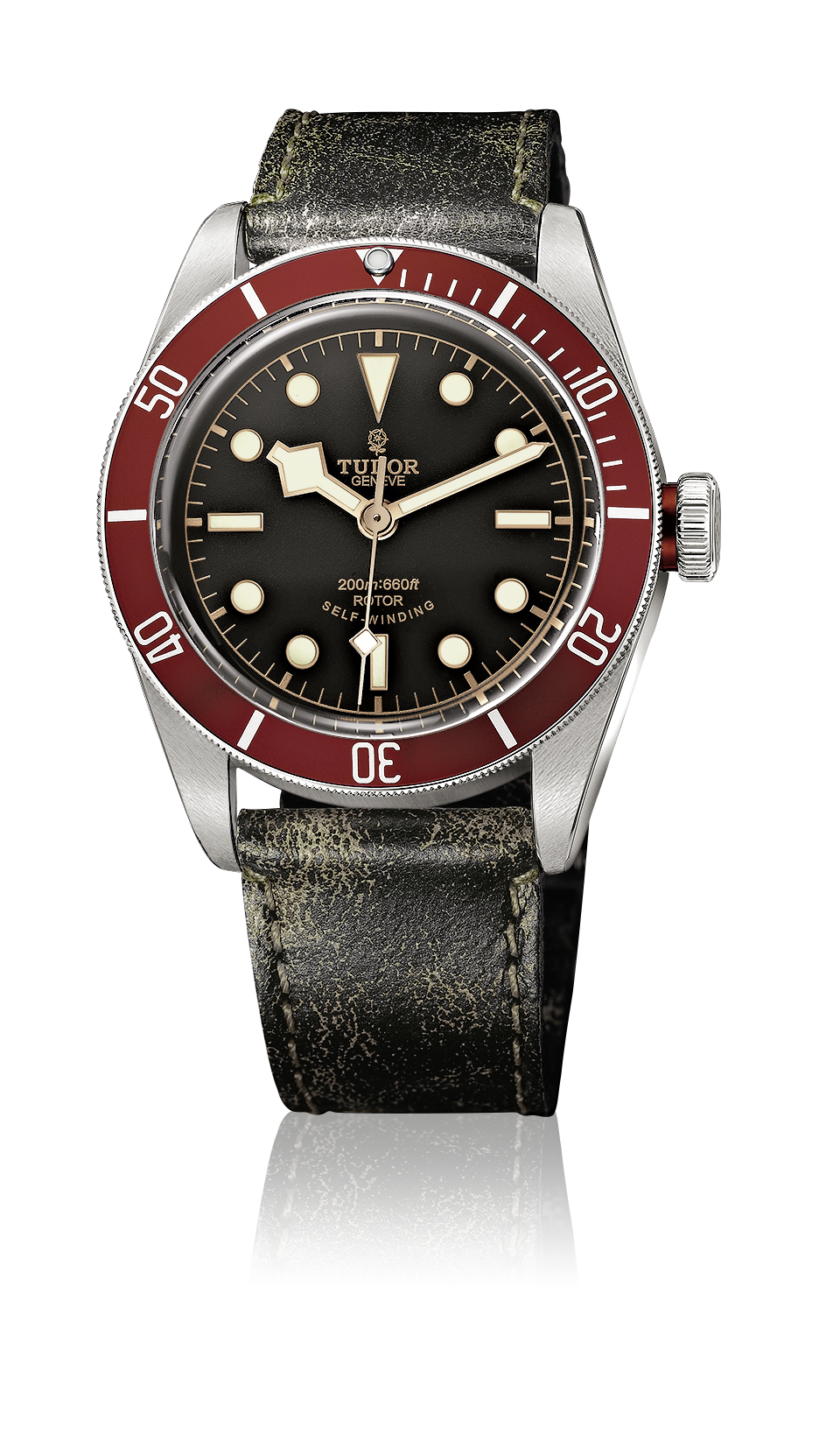Heritage Black Bay, Aged Leather Strap (Red)