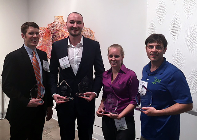The 2015 Region Winners (left to right):   Andrew Maxey from   Vartega Carbon Fiber Recycling   Duncan Hoffman from   NextPotential  which is also the   Sustainability Winner   Nicole Ray from   Rayn Innovations  , the   WOW Award Winner   Jonathan Netzky from   Tepa