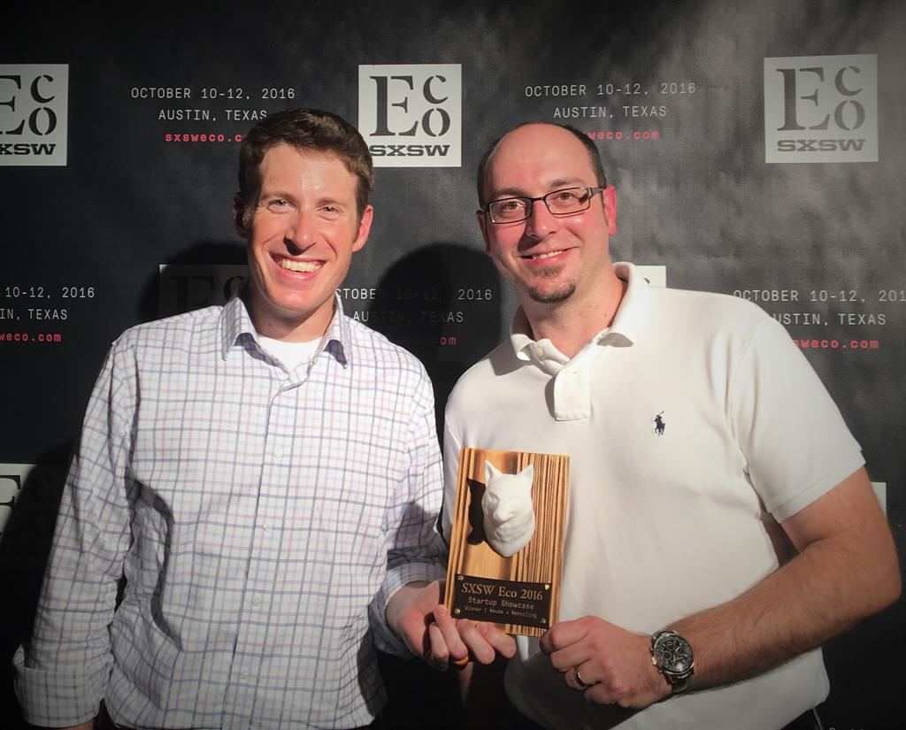 Andrew Maxey and Josh Gary Celebrating the win at SXSW Eco