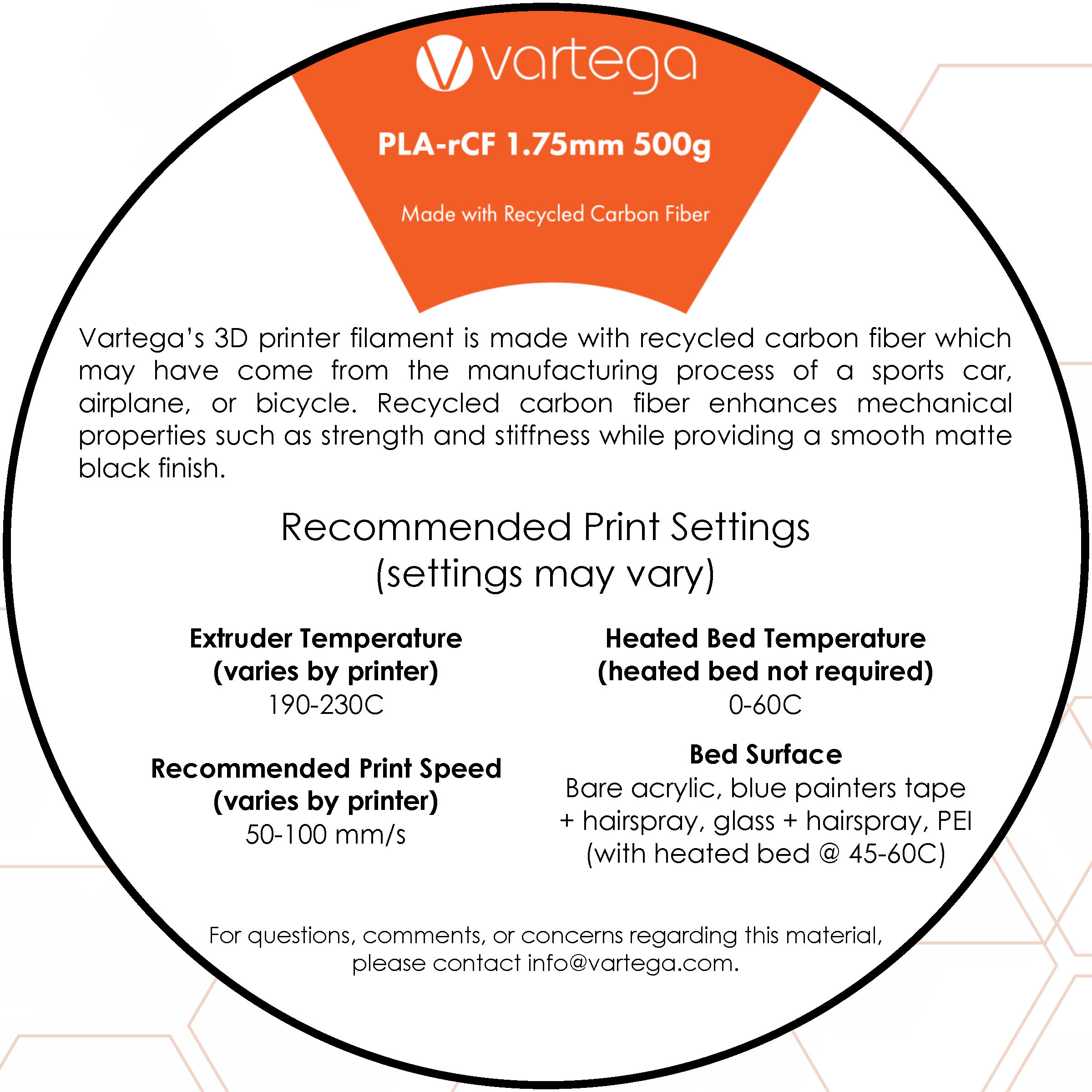 Vartega PLA Instruction Card