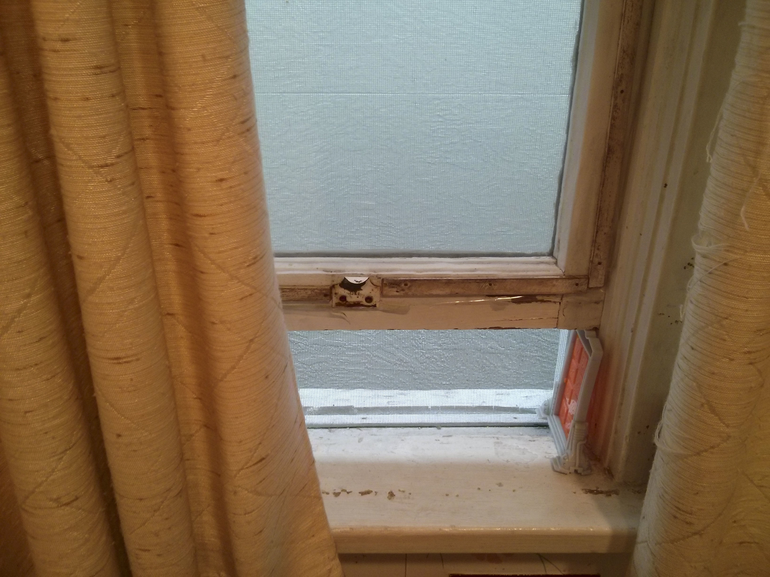 A McDonald's happy meal toy from Monster's Inc holds up the bathroom window