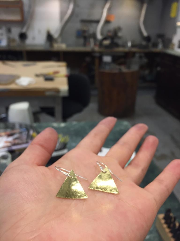 Little triangle brass earrings with sterling silver ear wire