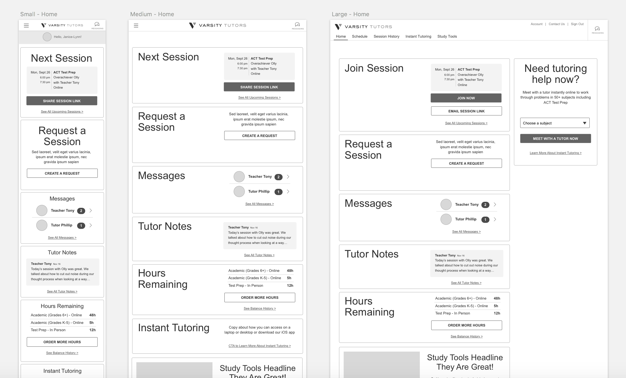 New client experience wireframes