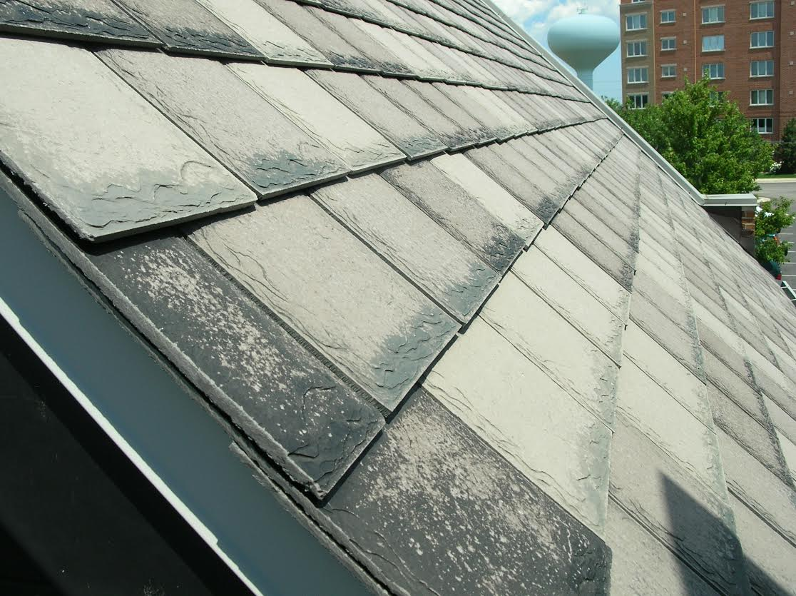 Close-up of a concrete flat tile roof.