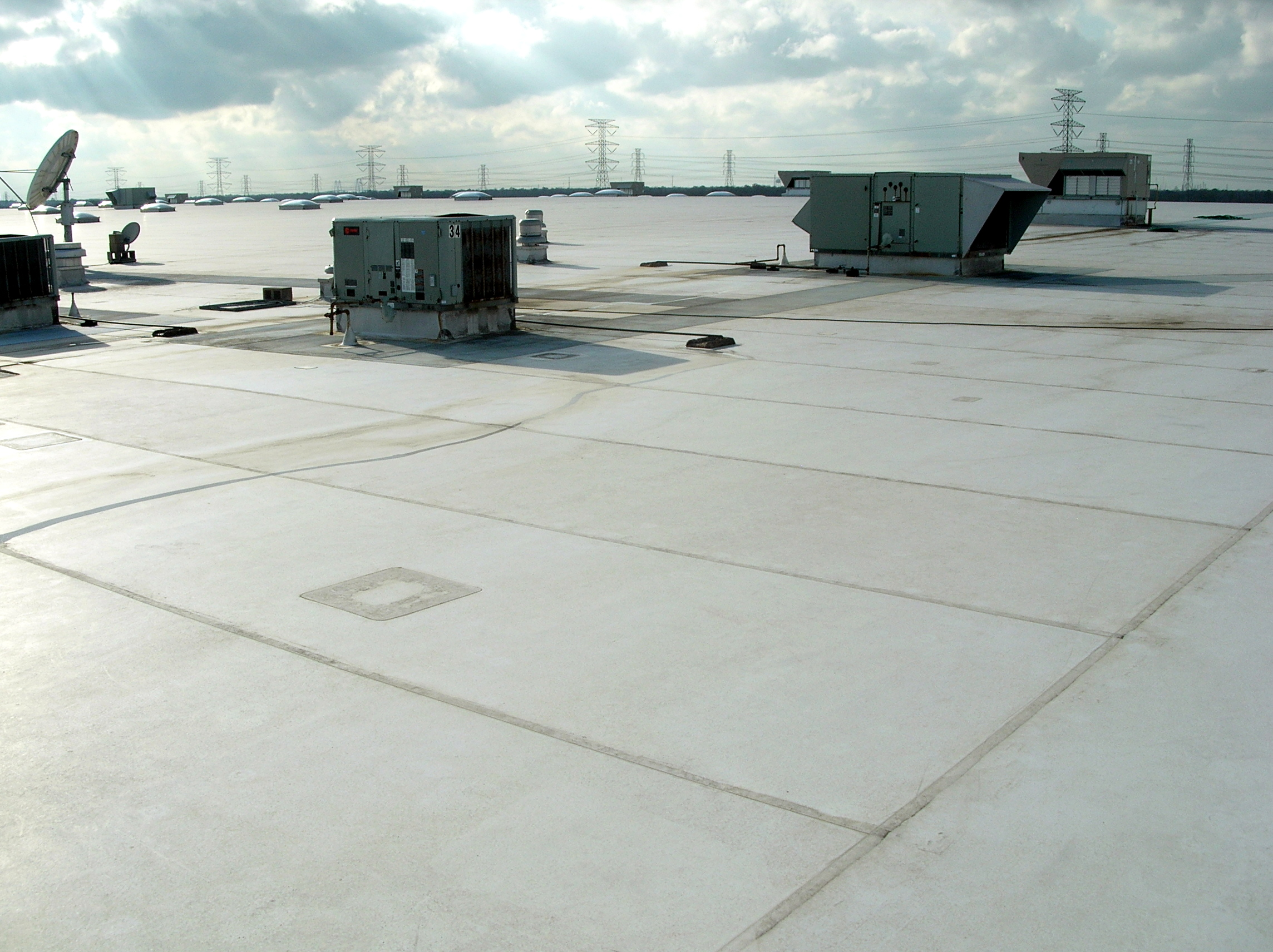 A mechanically-attached PVC Low-slope roof.