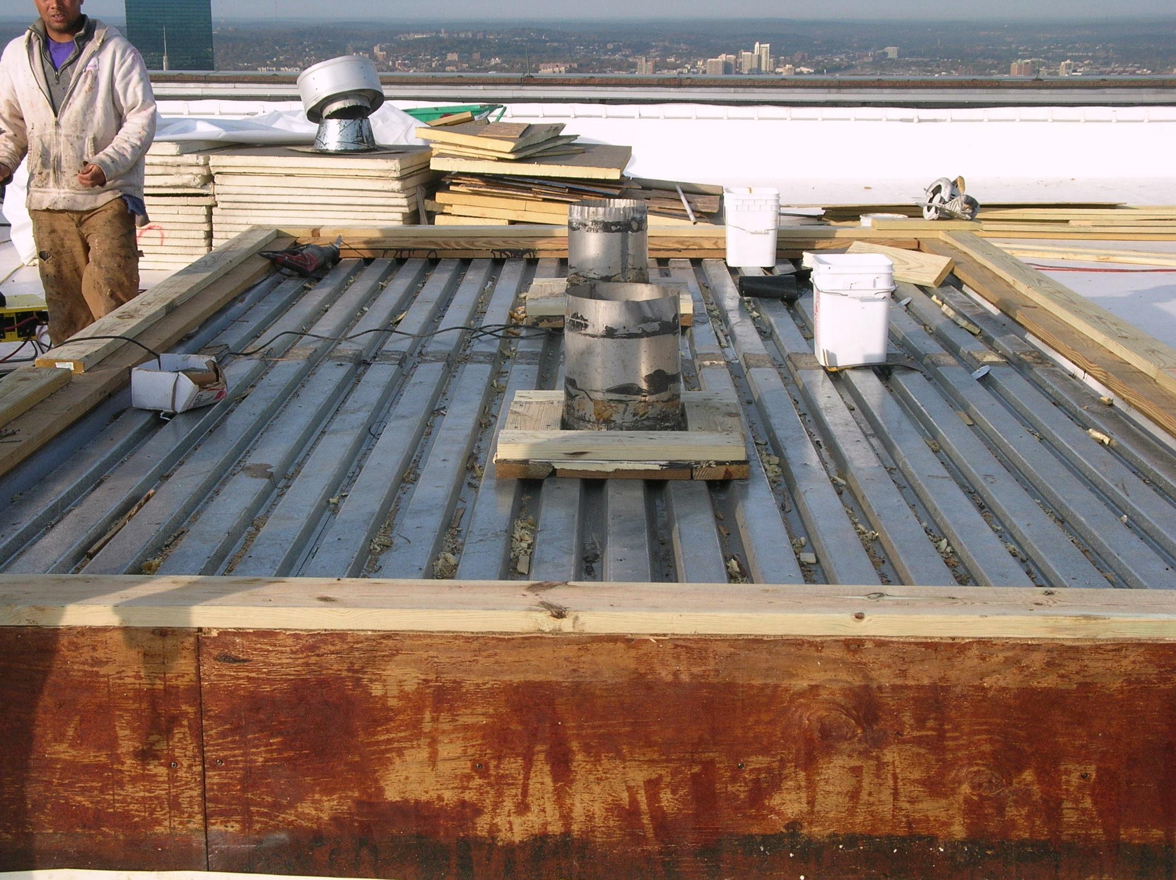 Painted Steel roof deck panel.
