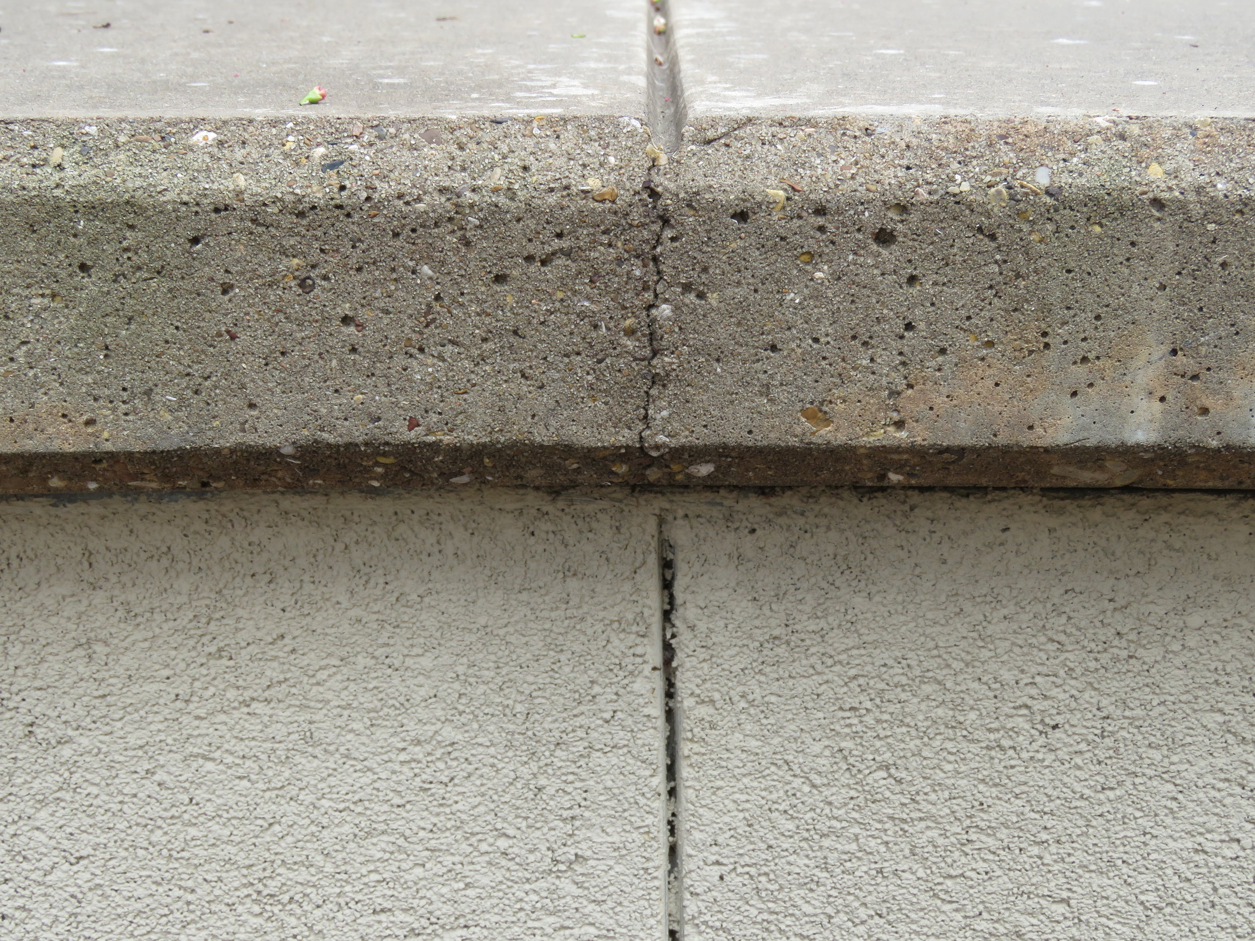 Cast-in-place concrete wall coping. Note the crack at the control joint, just where it's supposed to be.