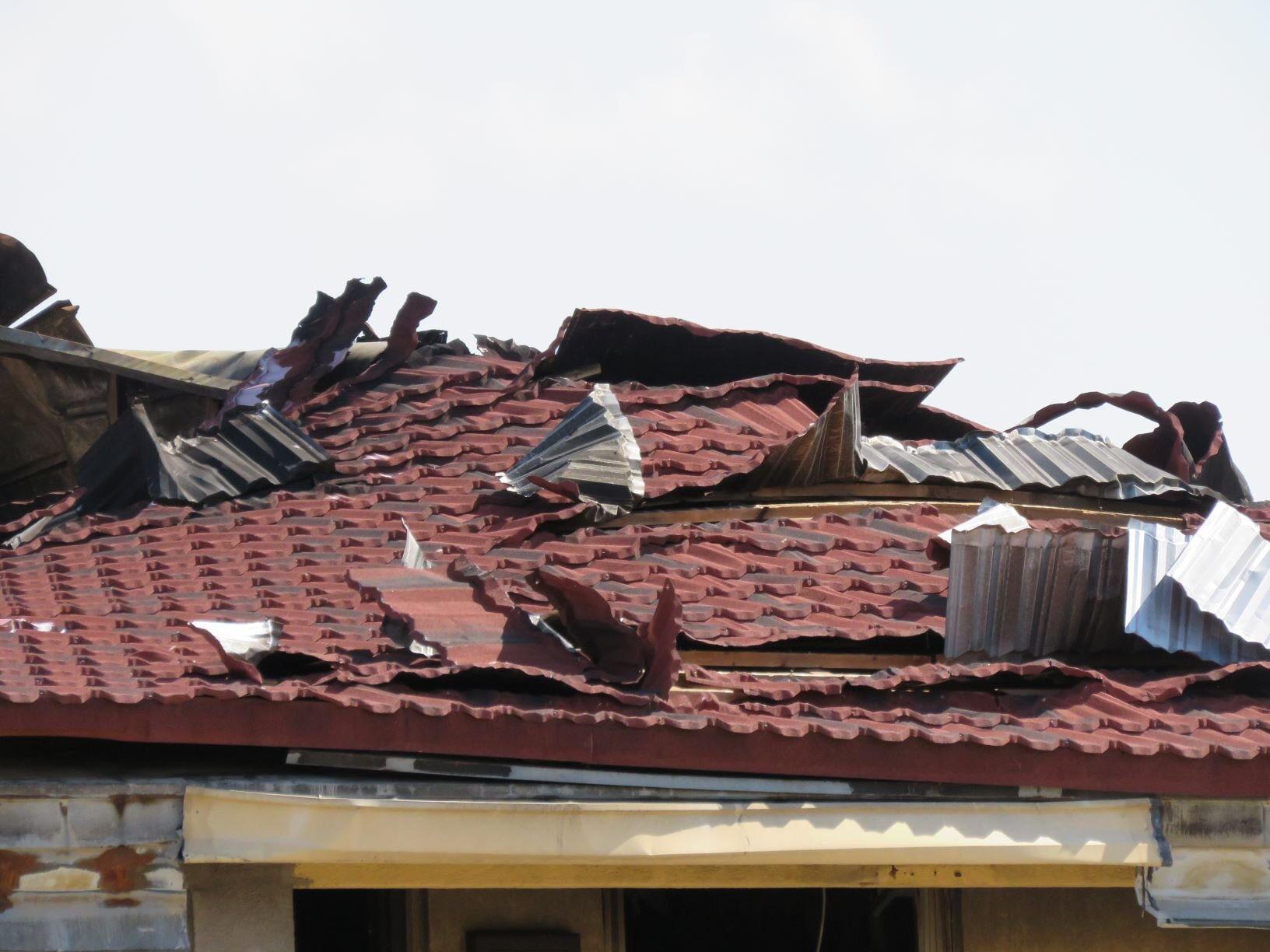Metal tile roof after a fire.