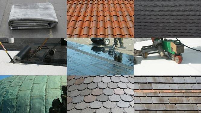 EPDM rubber, metal tiles, asphalt shingles, modified bitumen, asphalt BUR, PVC, copper panels, roofing slates, and cedar shingles.