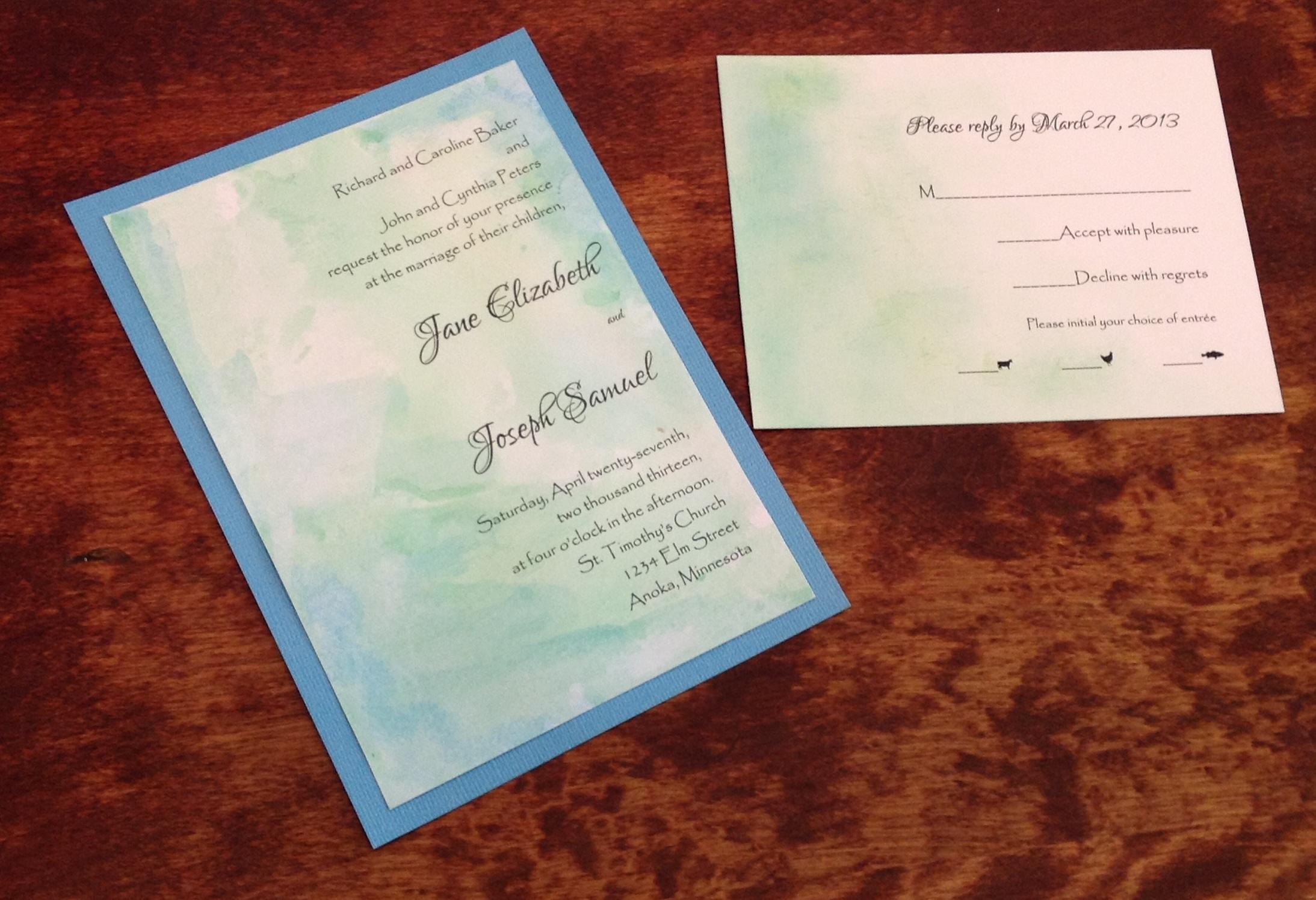 Watercolor turquoise invitation suite  $$