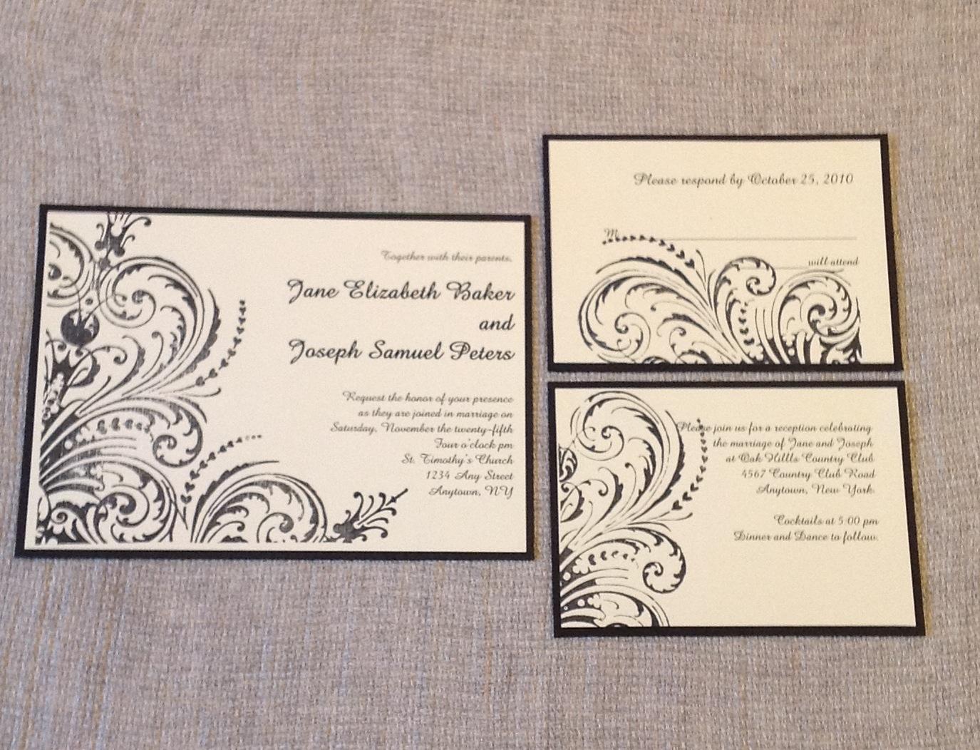 Stamped cream and black invitation suite   $$$