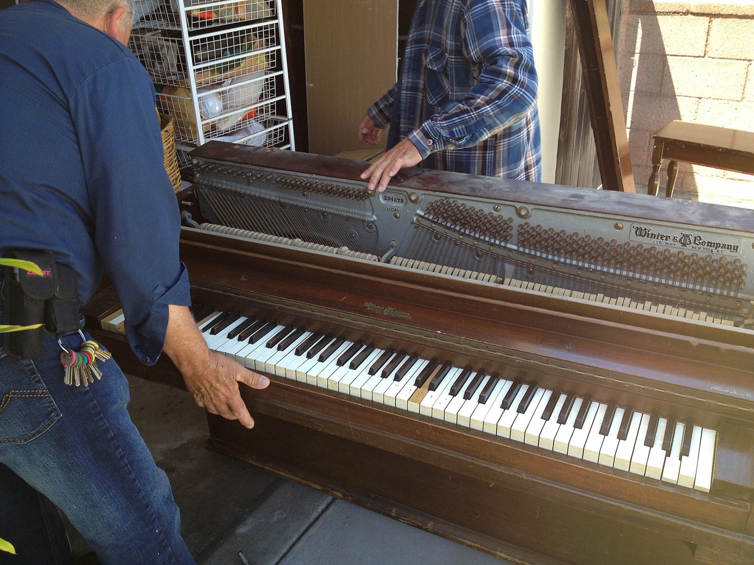 Move-in day for the first piano.