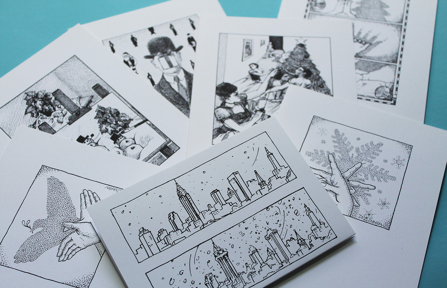 An assortment of holiday cards