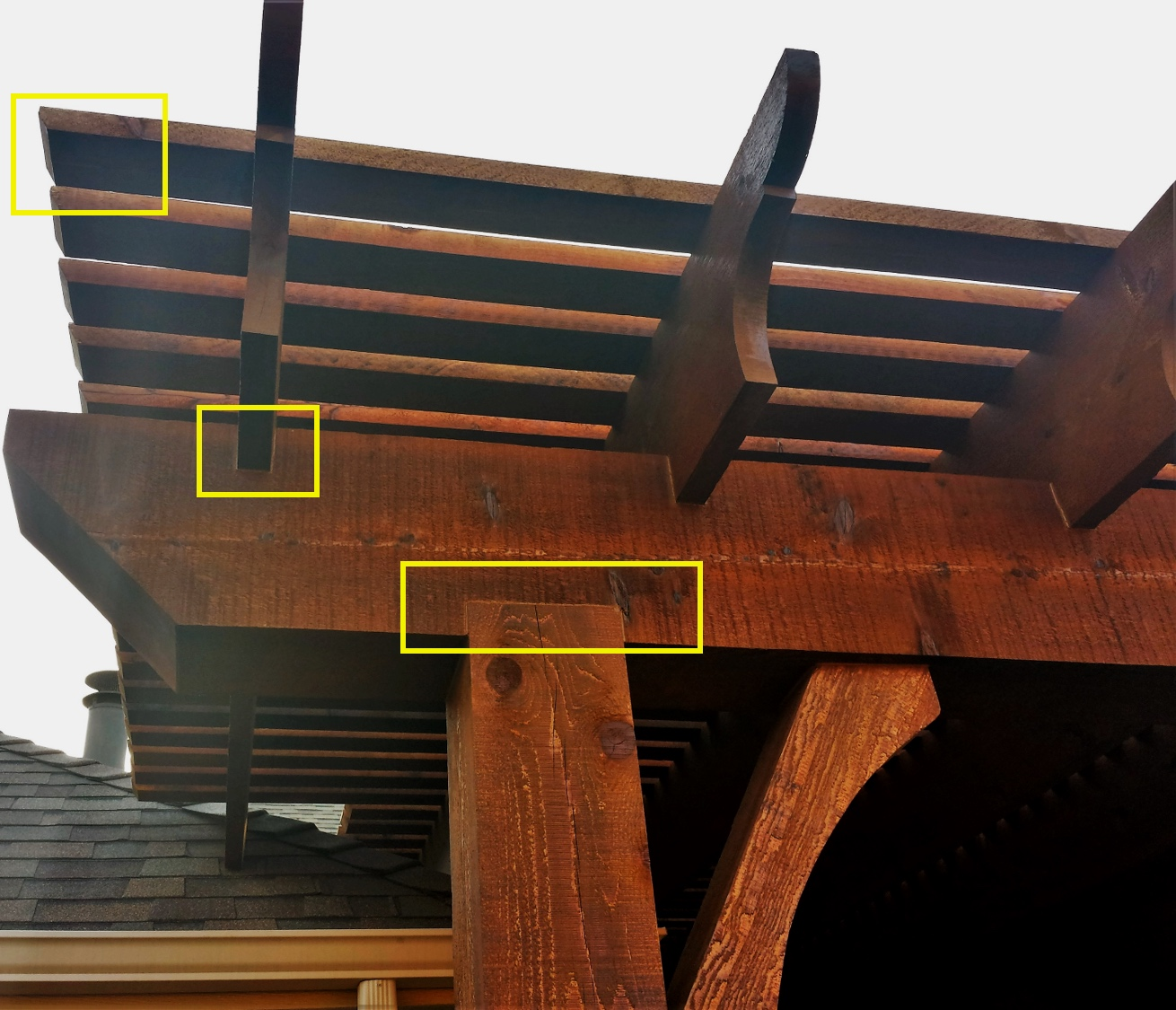 Exclusive to Pergola Jack. Notched full sized headers without bulky metal hardware. Seamless integration of joists, header, and posts. Use of 2x4's as opposed to the standard 1x2's. Inimitable beauty and strength; others simply do not compare.