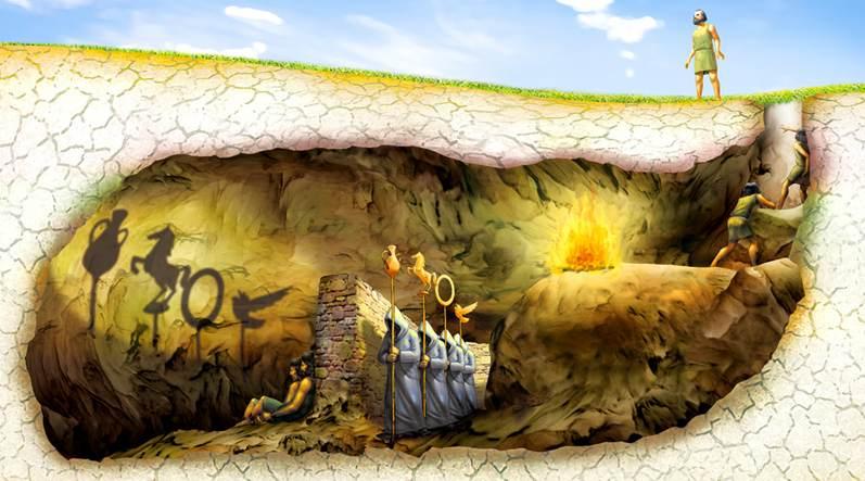 Ilustración tomada de la página Platón para los niños ( aqui ). En este enlace puedes ver una versión de El Mito de la Caverna de Platón, al inicio del video: https://www.youtube.com/watch?v=-1Y9OqSJKCc