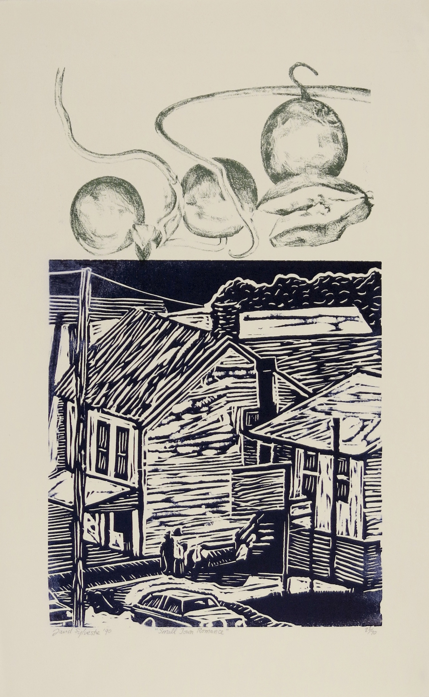 DAVID SYLVESTRE  Small Town Romance , 1990 Linocut and offset lithograph