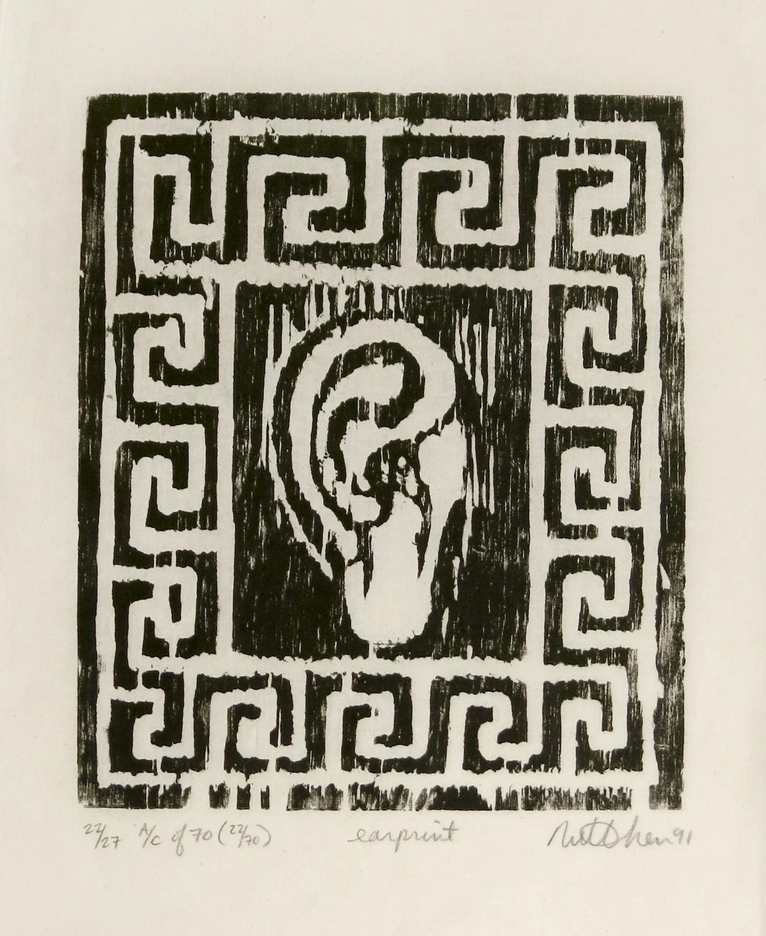 MILLIE CHEN  Earprint , 1991 Woodcut on rice paper