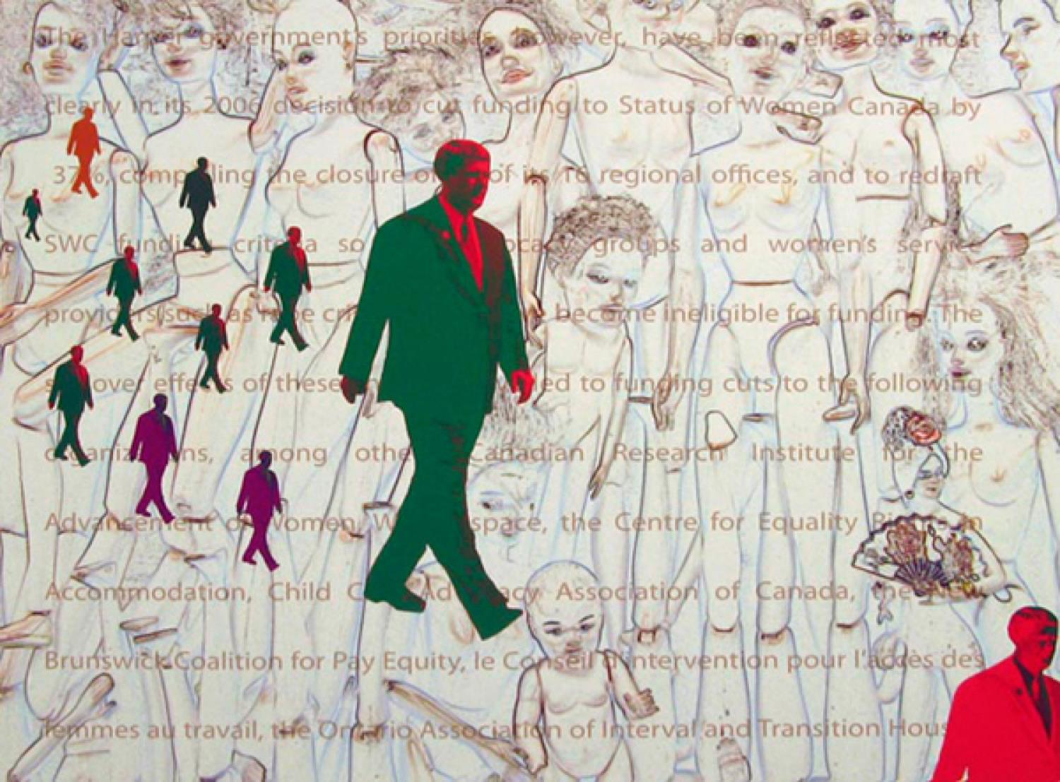 GABRIELLE DE MONTMOLLIN,   MEAN MAN WALKING ALL OVER THOSE WHO ARE WEAKER THAN HIM , 2012.  Mixed media on paper, 16 x 23 inches.