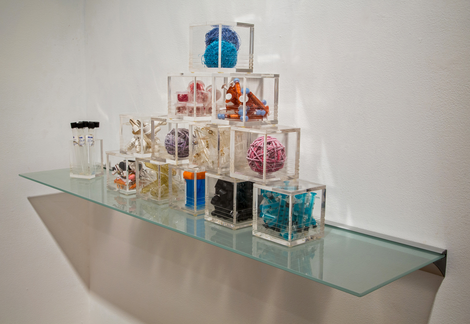 """Microbes, Tools & Transmitters,  2013 Acrylic boxes with mixed media 31""""x 7"""" x 6"""""""