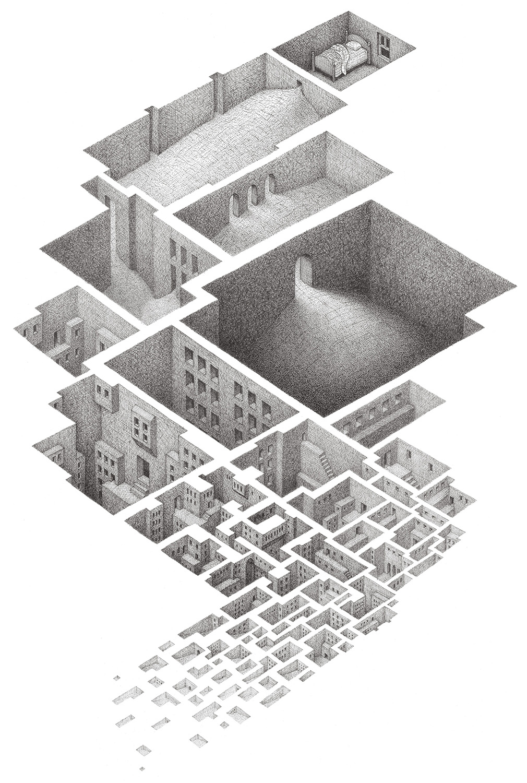 "Hypnagogic City , 2002 Fineliner  15 x 22"""