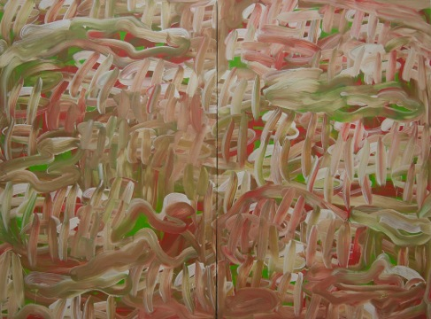 """Most of All , 2014. Aacrylic on two canvas panels, 60"""" x 80"""""""