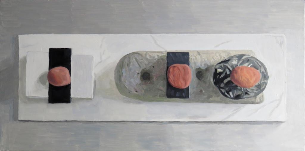IAN MACKAY  Buffer,   2014,  Oil on wood, 12 x 24 inches