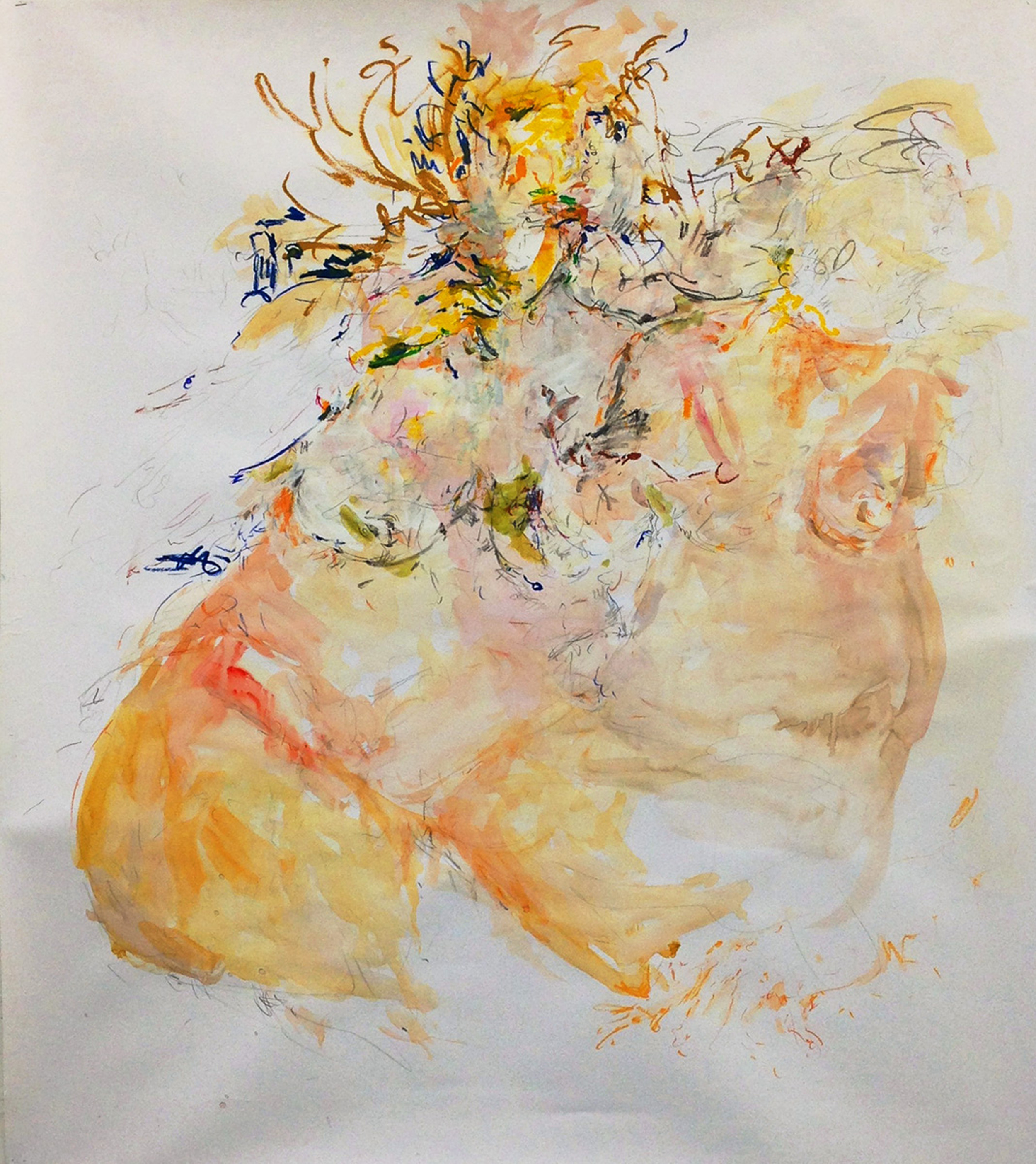 SARAH CREAGEN  And she knew all my secrets  ,  2013. Oilstick, graphite, watercolour, acrylic, chalk, conté, oil pastel, 48 x 41.5 inches.