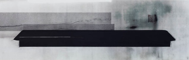 BETTY KASER  Long House , 2014. Collage with mylar print, graphite, black gesso mounted on dibond, 14.5 x 41.5 inches.