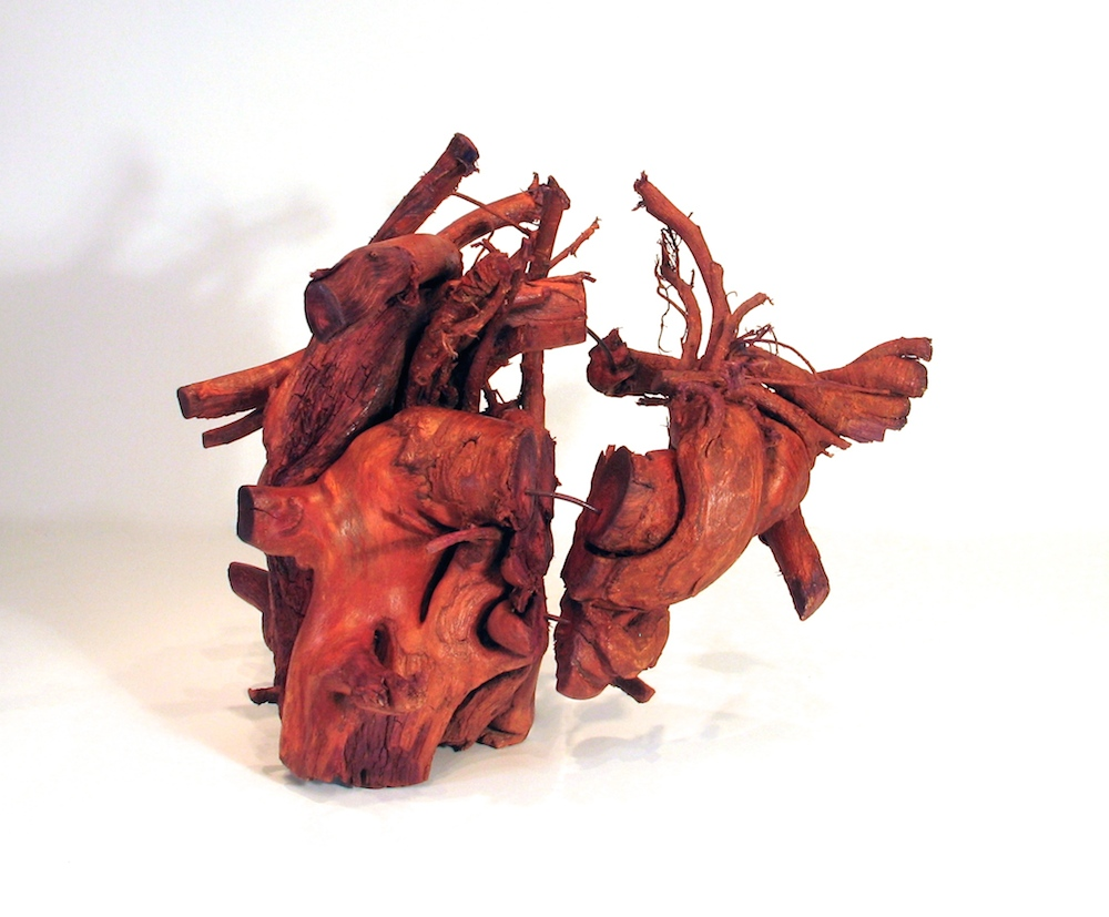 "Agony, 2013 Tree root, steel, acrylic 16"" x 20"" x 14"""