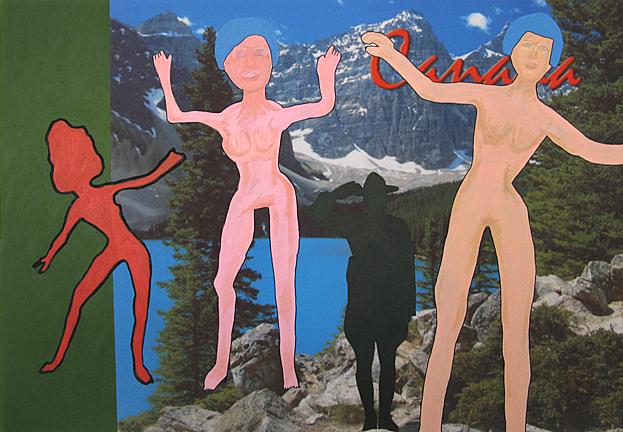GABRIELLE DE MONTMOLLIN  Rockies , 2014. Mixed media on canvas, 36 x 53 inches.